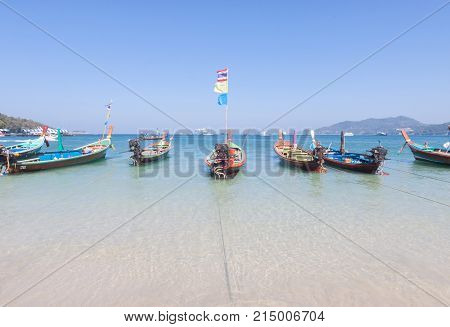 Traditional thai longtail boat at Phuket , Thailand