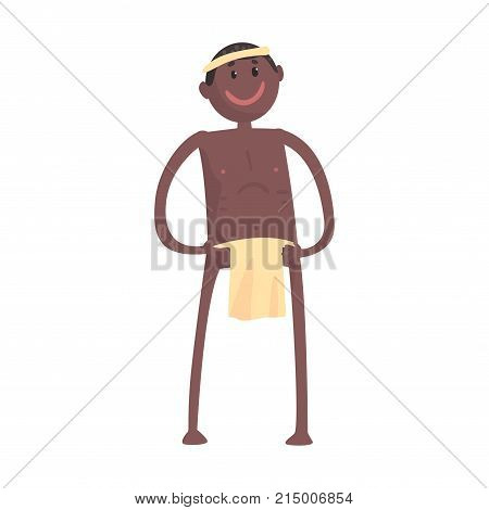 Smiling black skinned man aborigine stands with arms akimbo. Indigenous peoples of African or Australian tribe. Dressed in traditional clothes. artoon flat vector character isolated on white.