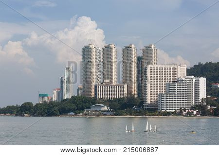 Beautiful building and sea at penang malaysia