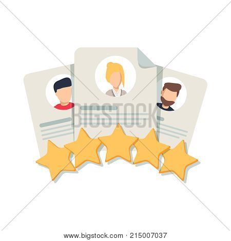 Client's Review Customer Feedback User's Comment or Satisfaction Level. Portraits of three people and evaluation stars below. Flat outline vector icon concept for Website Mobile Apps.