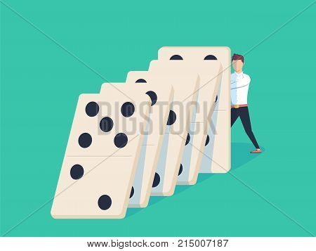 Flat style businessman trying to stop falling domino. Business crisis management and solution concept. Concept of Domino effect and protection. Vector illustration isolated on background.