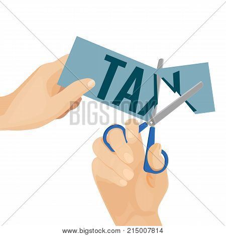 Deduction poster with images hands and scissors that are cutting piece of paper with tax written on it, vector illustration isolated on white background