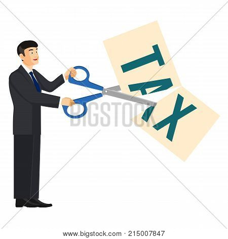 Deduction banner representing man dressed in official clothings that holds scissors in his hands and cuts big title that says tax on vector illustration