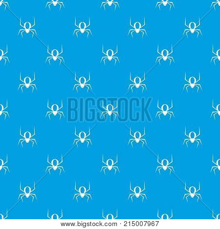 Spider pattern repeat seamless in blue color for any design. Vector geometric illustration