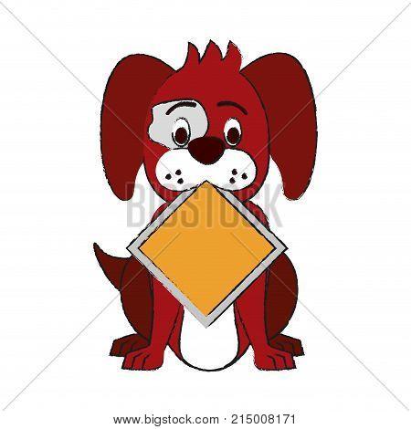 Dog With Roadsign Cartoon