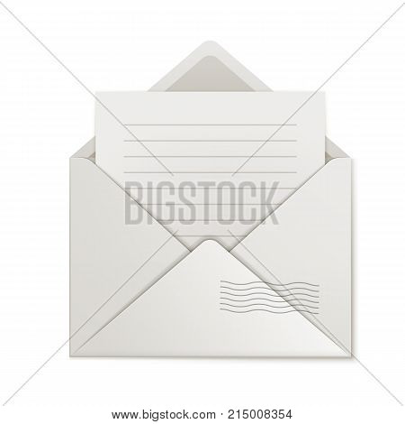 Uncovered envelope, lined paper, isolated. Cover close-up with message inside. Opened missive, blank form, vector illustration
