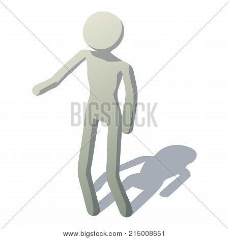 Stick man showing icon. Isometric illustration of stick man showing vector icon for web