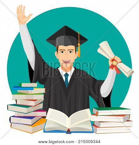 Highschool graduate with diploma in hands and piles of textbooks in front of him vector illustration poster with student in mantle gown and mortarboard cap