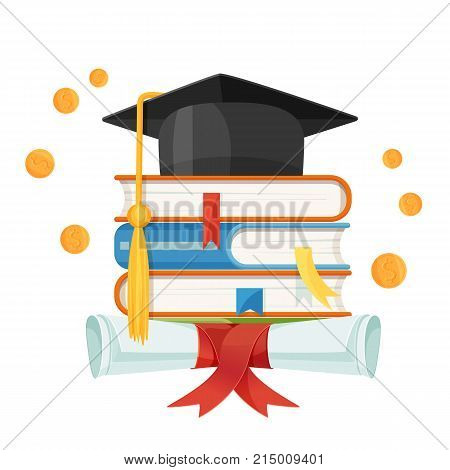 Mortarboard cap on piles of textbooks and diploma scroll with red ribbon vector illustration with degree hat and university symbols isolated on white