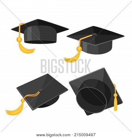 Set of mortarboard caps with golden tassels from different sides of view, degree hats vector realistic isometric illustrations isolated on white background