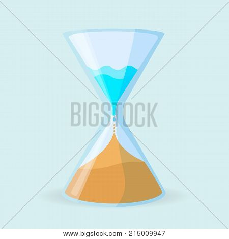 Hourglass icon in form of glass clock, isometric container with water leaking and transforming into sand isolated vector. Global warming and arid climate concept