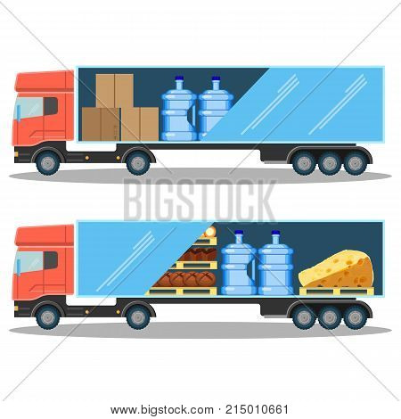 Large delivery truck with water bottles, cardboard boxes, with pallets bread and triangle piece of cheese isolated vector illustrations on white background.
