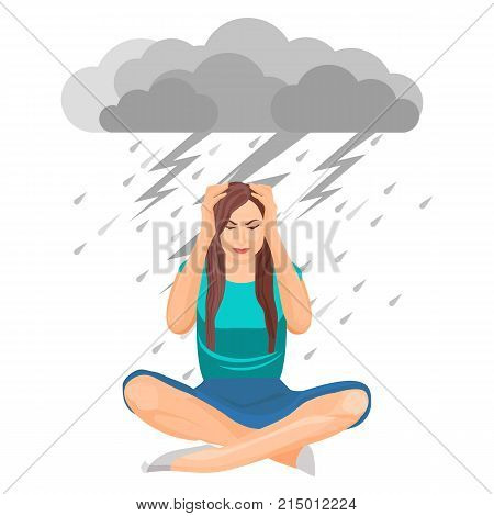 Depressed woman with tangled feelings, touching her head, cloud and bolts with rain above her, lady with problems and frustration on vector illustration