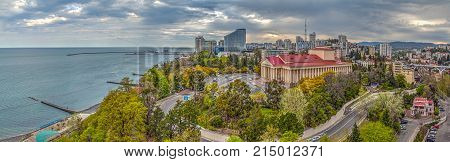 RUSSIA, SOCHI - APRIL 18, 2015: Panorama of city. Winter Theater, Theater Square in Sochi, Russia on April 18, 2015.