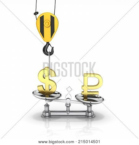 Concept Of Exchange Rate Support Dollar Vs Ruble The Crane Pulls The Dollar Up And Lowers The Ruble