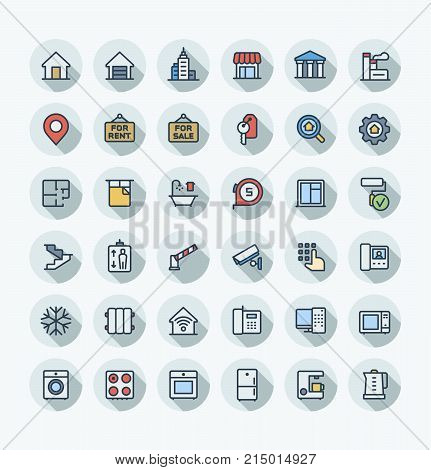 Vector flat thin line icons set, graphic design elements. Real estate outline symbols illustration . Residential properties, apartments, store, office agency, rent room, bathroom, lift color pictogram