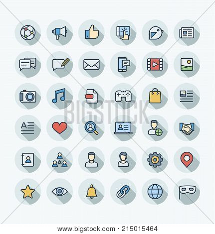 Vector thin line icons set and graphic design. Social media, network outline symbols illustration. Like, video content, message, comment, subscribe, profile, views, followers flat color pictogram