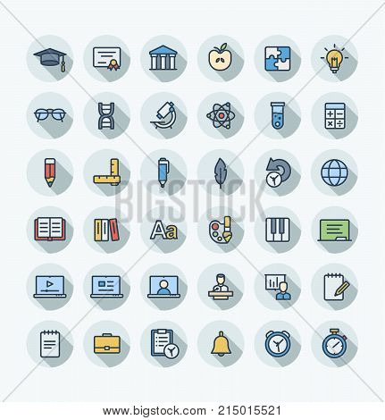 Vector thin line icons set and graphic design. Illustration with education, online learning, think outline symbols. Book, microscope, calculator, pen, elearning, teacher flat color pictogram