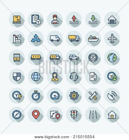 Vector thin line icons set and graphic design. Illustration with Logistic, delivery business, distribution outline symbols. Service, export, shipping, transport flat color pictogram