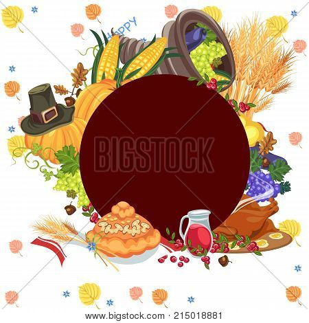 harvest organic foods like fruit and vegetables, happy thanksgiving dinner card or banner background, harvesting vector illustration pumpkin and stack of wheat ears, cranberry berries, bunches of grapes