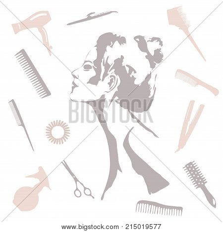 Beauty store and salon background. make up artist and hairdressing objects: comb brush scissors hair dryer woman silhouette hair band. Template Vector. Hand drawn isolated on white objects poster