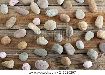 Close Up of Rocks on Wooden Background