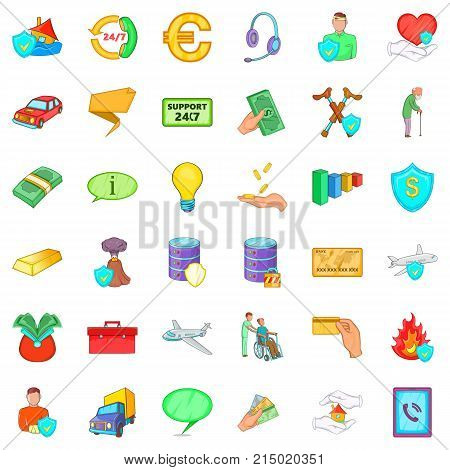 Insurance policy icons set. Cartoon style of 36 insurance policy vector icons for web isolated on white background