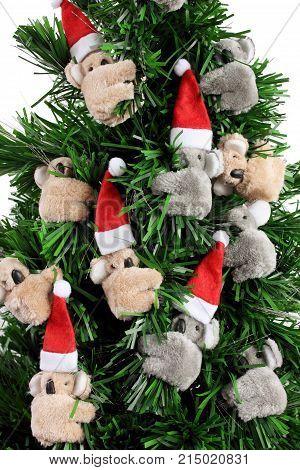 Close Up of Christmas Tree with Koala Soft Toys