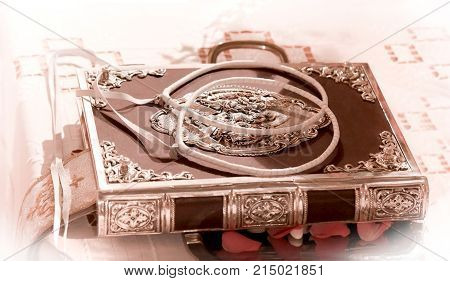 wedding crowns on holly bible decorated on a gospel preparing for ceremony