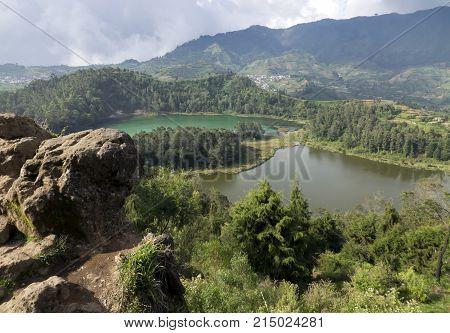 Java Indonesia. Telaga Warna-color volcanic lakes on the plateau Diyeng