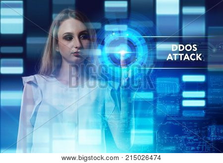The concept of business technology the Internet and the network. A young entrepreneur working on a virtual screen of the future and sees the inscription: Ddos attack poster