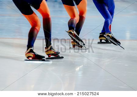 legs women athletes speed skaters in mass start competition