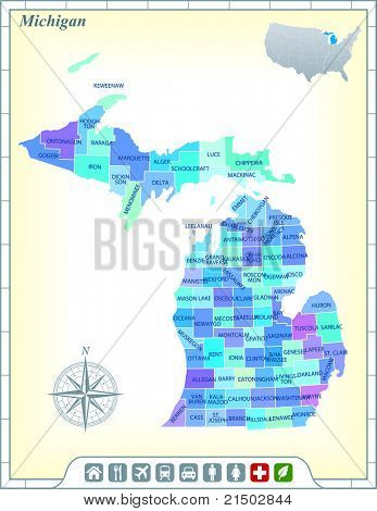 Michigan State Map with Community Assistance and Activates Icons Original Illustration