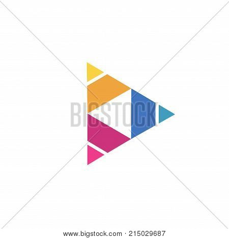 Abstract triangle logo, creative Media play logo, vector logo concept illustration,Media logo sign, Play logo , Player logo, Movie player logo, Multimedia logo icon, Audio music logo