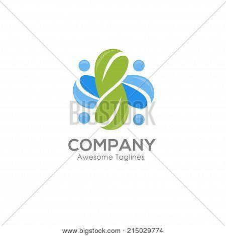 green leaf ecology nature element vector, social health logo and abstract organic leaf logo, Leaf logo ecology graphic creative template, Environment decoration modern leaf emblem