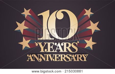 10 years anniversary vector icon logo. Graphic design element with golden numbers for 10th anniversary celebration