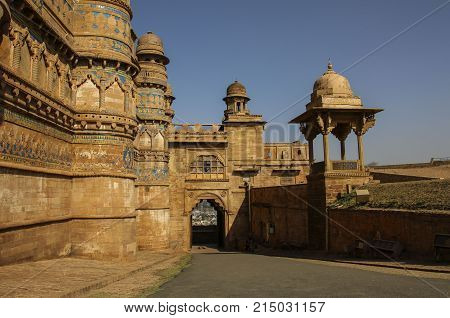 Gwalior fort on a sunny day in Madhya Pradesh India