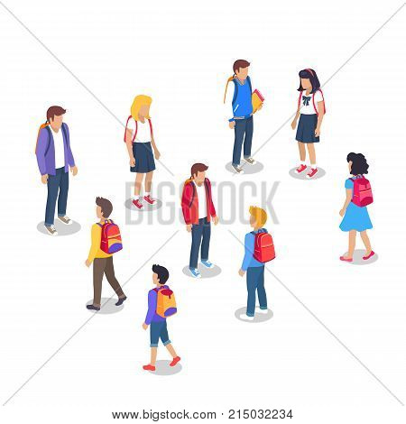 Schoolchildren from secondary school with backpacks, holding books in hands set of vector illustrations isolated. Pupils cartoon characters with rucksack