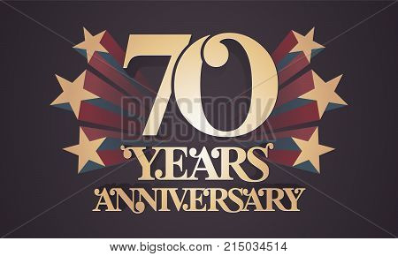 70 years anniversary vector icon logo. Graphic design element with golden numbers for 70th anniversary celebration