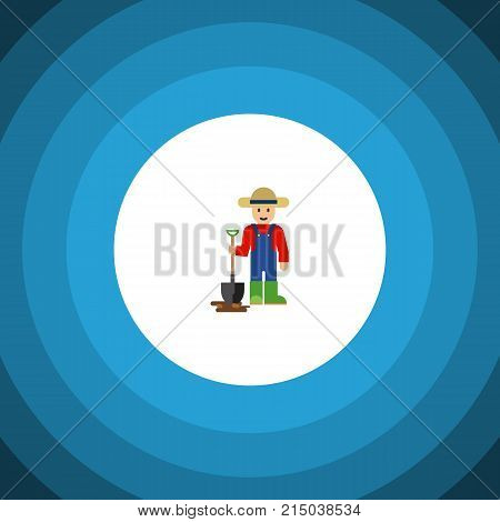 Man Vector Element Can Be Used For Farmer, Man, Shovel Design Concept.  Isolated Farmer Flat Icon.