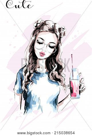 Hand drawn beautiful girl with stylish hairstyle. Fashion woman with drink bottle. Cute young woman portrait. Fashion girl in eyeglasses. Sketch. Vector illustration.