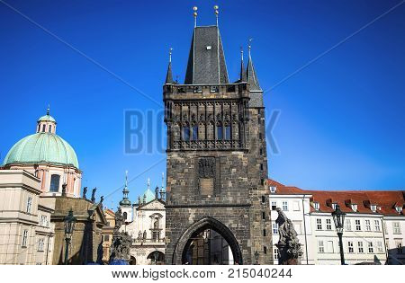 View of the Old Town Bridge Tower (Stare Mesto Tower) from the Charles Bridge (Karluv Most) in Prague Czech Republic