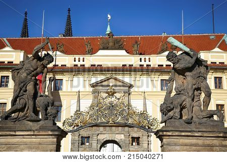 Statue on entrance to the Prague castle located in Hradcany district. Prague Czech Republic