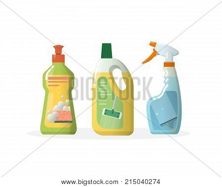 Set of household and cleaning products for windows and floors, in plastic bottles. House cleaning tools vector bottle. Household tool elements. Cleaning service in office, room. Vector illustration.