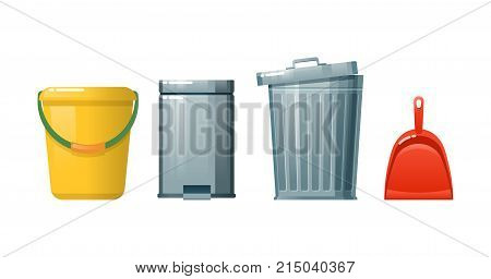 Concept of a household, cleaning up debris and dust, cleaning floors of household waste, trash. Cleaning the office, the room. General, wet cleaning of the premises. Vector illustration.