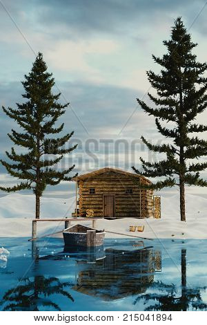3d rendering of wooden log cabin behind frozen lake in the winter season