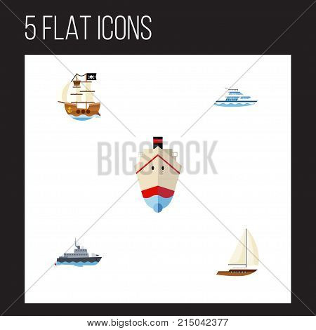 Flat Icon Vessel Set Of Ship, Yacht, Vessel And Other Vector Objects