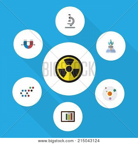 Flat Icon Study Set Of Glass, Milky Way, Molecule And Other Vector Objects