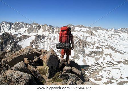 Backpacker On Mountain