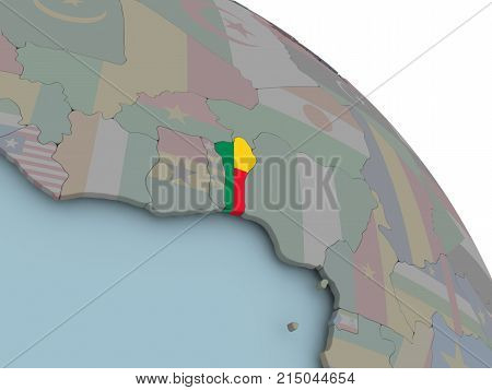 Map Of Benin With Flag